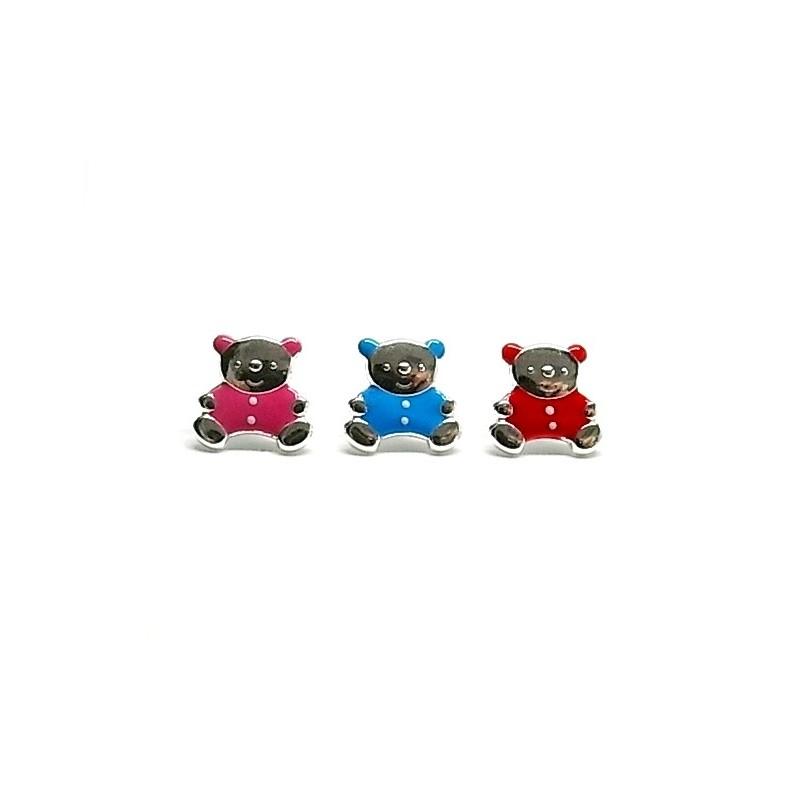 Cercei argint Ursuleti Colorati Rosu Roz Albastru