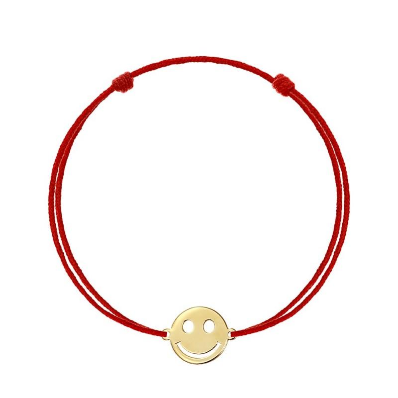 Bratara snur Pandant aur galben 14K Smiley