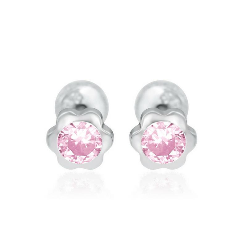 Cercei aur alb 14K Flori mici cu piatra roz