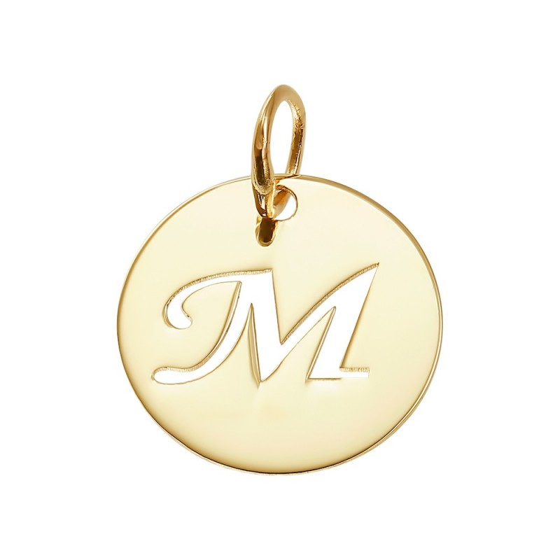 Pandantiv aur galben 14K Banut pentru colier, cu litera decupata