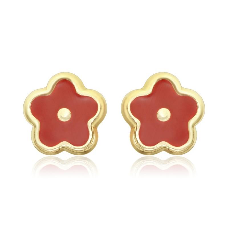 Cercei aur galben 14K Floricele cu piatra rosie