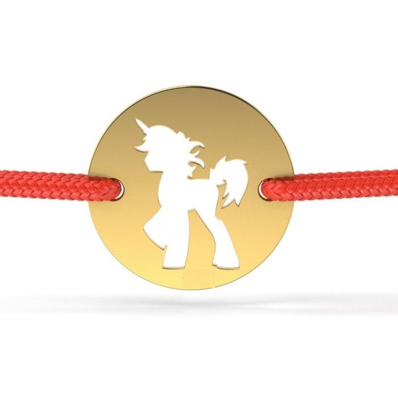 Bratara snur Pandant aur galben 14K Banut cu unicorn