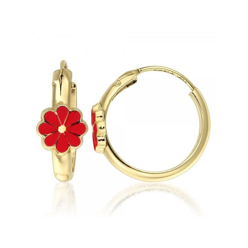 Cercei aur galben 14K Tortite floare petale rosii