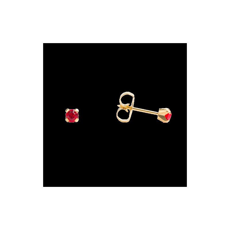 Cercei hipoalergenici, Piatra rubinie 3 mm, cu dispozitiv de gaurire
