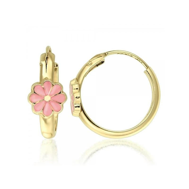 Cercei aur galben 14K Tortite floare petale roz