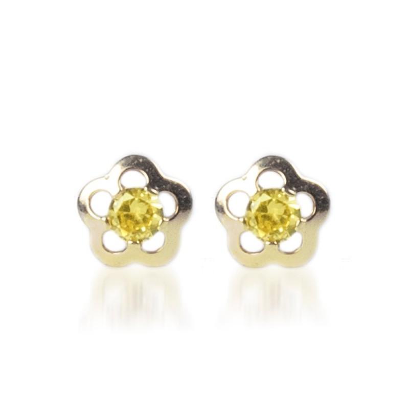 Cercei aur galben Floricele cu piatra galbena